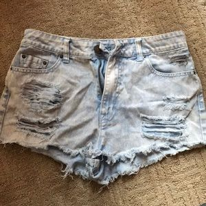 Bdg high waisted blue acid shorts